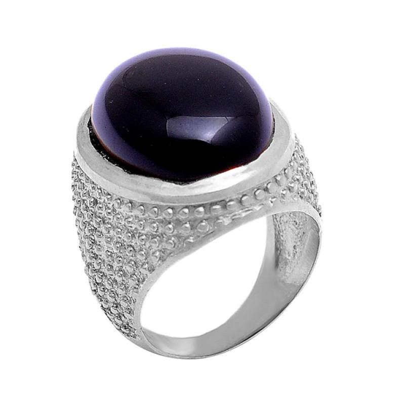 925 Sterling Silver Oval Cabochon Black Onyx Gemstone Gold Plated Designer Ring