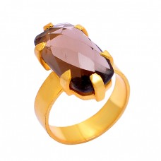 925 Sterling Silver Smoky Quartz Oval Shape Gemstone Gold Plated Ring  Jewelry