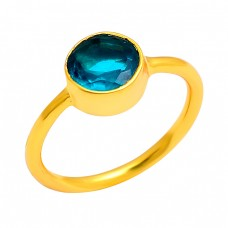 Blue Quartz Round Shape Gemstone 925 Sterling Silver Gold Plated Ring Jewelry
