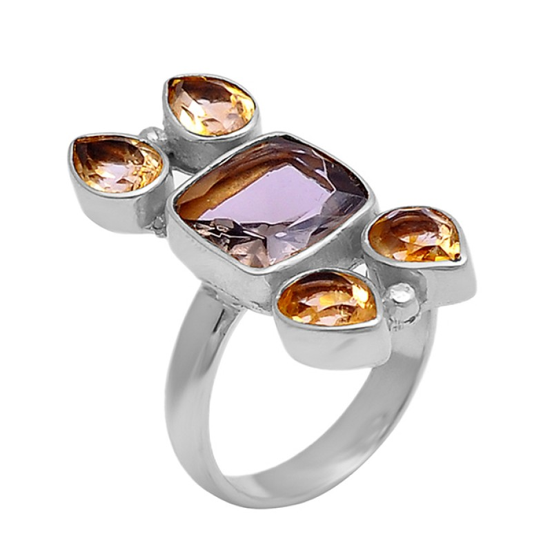 Amethyst Citrine Gemstone 925 Sterling Silver Gold Plated Designer Ring