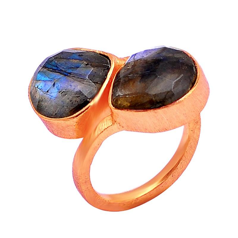 925 Sterling Silver Labradorite Heart Shape Gemstone Gold Plated Designer Ring