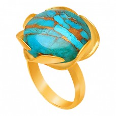 Round Cabochon Blue Copper Turquoise Gemstone Handmade 925 Sterling Silver Gold Plated Ring