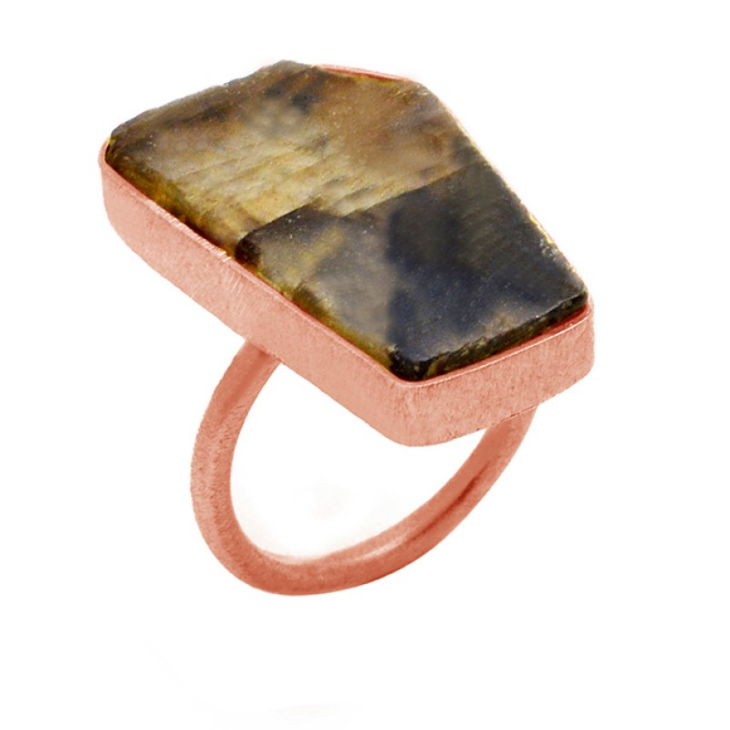 Natural Labradorite Gemstone Fancy Shape 925 Sterling Silver Gold Plated Rings Jewelry