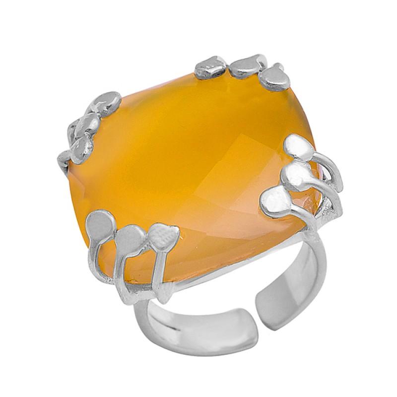 925 Sterling Silver Briolette Cushion Shape Citrine Gemstone Gold Plated Adjustable Ring