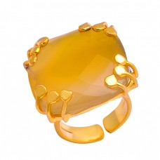 925 Sterling Silver Briolette Cushion Shape Citrine Gemstone Gold Plated Adjustable Ring
