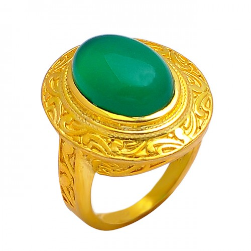 925 Sterling Silver Green Onyx Oval Cabochon Gemstone Attractive Gold Plated Ring
