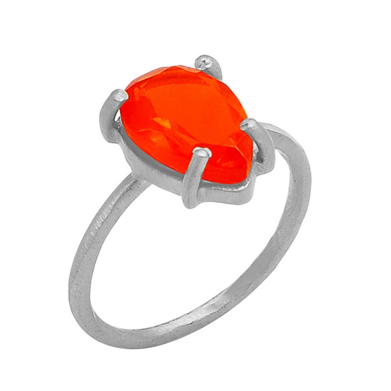 Carnelian Pear Shape Gemstone 925 Sterling Silver Gold Plated Ring Jewelry