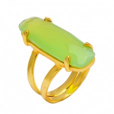 Prehinite Chalcedony Rectangle Shape Gemstone 925 Silver Gold Plated Ring Jewelry