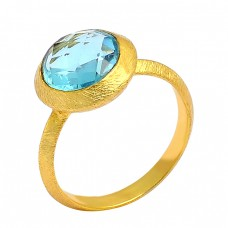 Blue Topaz Round Shape Gemstone 925 Sterling Silver Gold Plated Ring Jewelry