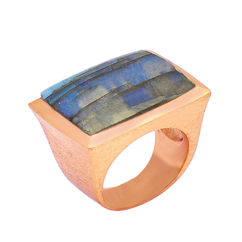 Rectangle Shape Labradorite Gemstone 925 Silver Gold Plated Designer Ring Jewelry