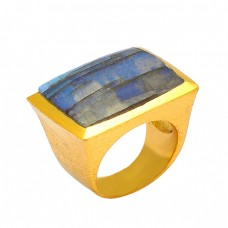 Rectangle Shape Labradorite Gemstone 925 Silver Gold Plated Designer Ring Jewelry