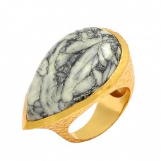 Cabochon Pear Shape Orthoceras Gemstone 925 Silver Gold Plated Ring Jewelry