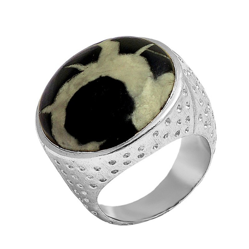 Round Shape Septarian Gemstone 925 Sterling Silver Gold Plated Designer Ring Jewelry