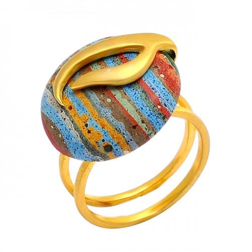 Round Cabochon Rainbow Calsilica Gemstone 925 Silver Gold Plated Designer Ring