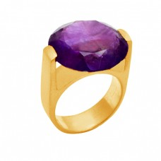 Round Shape Purple Amethyst Gemstone 925 Sterling Silver Gold Plated Ring Jewelry