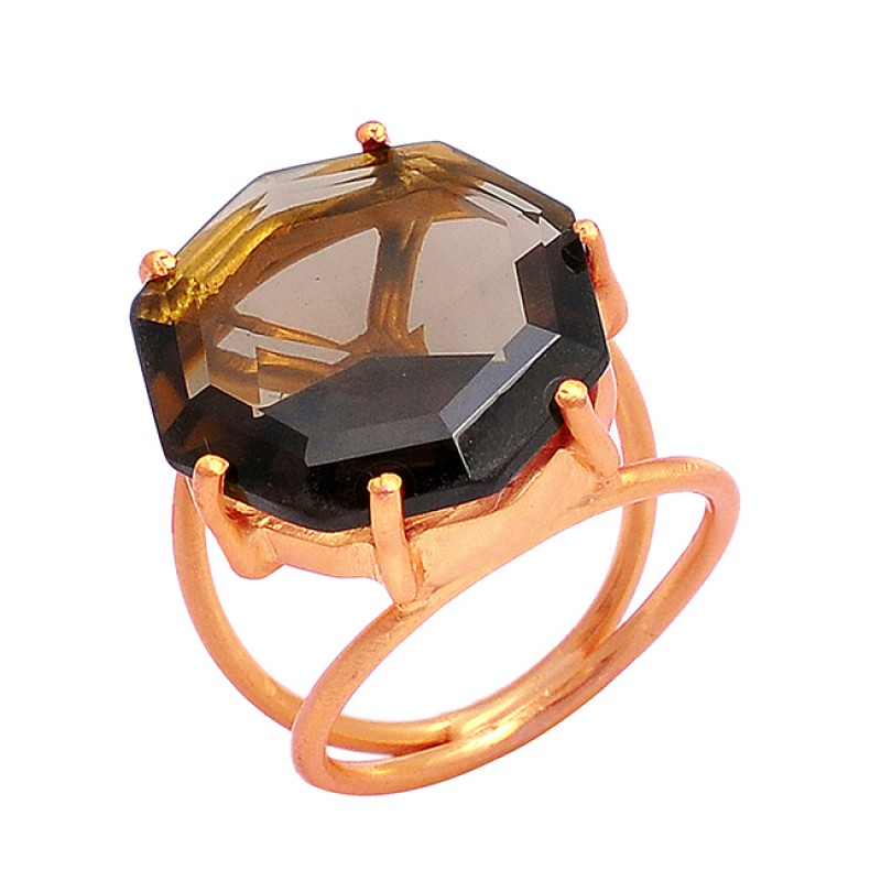 Hexagon Shape Smoky Quuartz Gemstone 925 Sterling Silver Gold Plated Ring