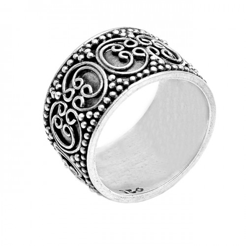 925 Sterling Silver Plain Designer Black Oxidized Handmade Ring Jewelry