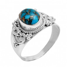 925 Sterling Silver Oval Shape Blue Copper Turquoise Gemstone Handmade Ring