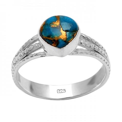925 Sterling Silver Heart Shape Blue Copper Turquoise Gemstone Designer Ring