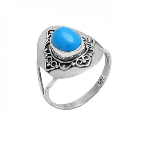 Oval Cabochon Aqua Chalcedony Gemstone 925 Silver Black Oxidized Ring Jewelry