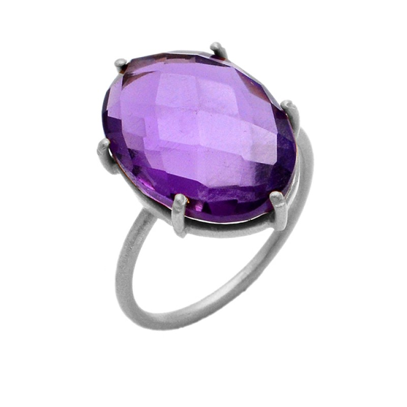 Natural Amethyst Briolette Oval Gemstone 925 Sterling Silver Gold Plated Jewelry Ring