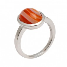 Oval Cabochon Orange Banded Agate Gemstone 925 Sterling Silver Designer Ring
