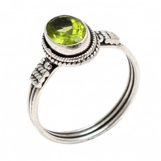Peridot Faceted Oval Shape Gemstone 925 Sterling Silver Black Oxidized Ring Jewelry