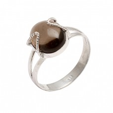 925 Sterling Silver Oval Cabochon Smoky Quartz Gemstone Handmade Designer Ring