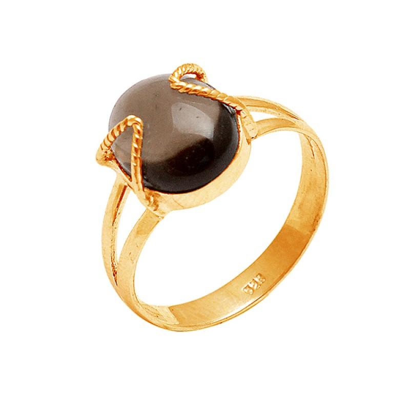 925 Sterling Silver Oval Cabochon Smoky Quartz Gemstone Handmade Designer Ring