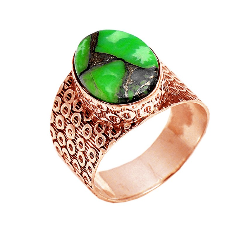 Cabochon Oval Green Copper Turquoise Gemstone 925 Silver Black Oxidized Ring