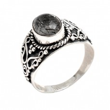 Oval Cabochon Black Rutile Quartz Gemstone 925 Silver Black Oxidized Ring Jewelry