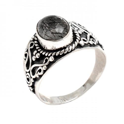 Oval Cabochon Black Rutile Quartz Gemstone 925 Silver Black Oxidized Ring Jewelry