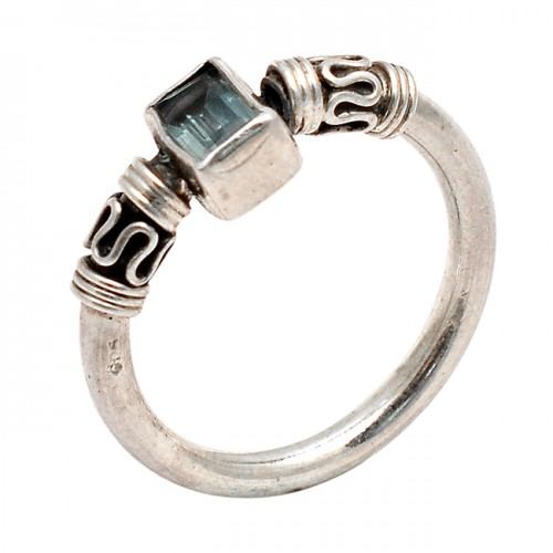 Blue Topaz Rectangle Shape Gemstone 925 Sterling Silver Black Oxidized Ring