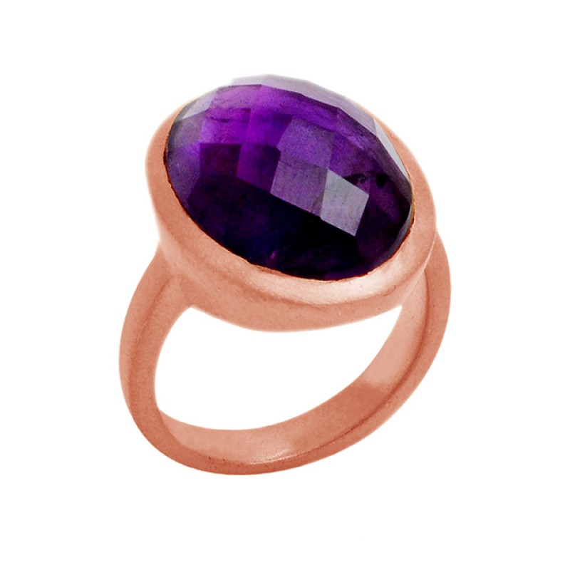 Natural Purple Amethyst 925 Sterling Silver Gold Plated Designer Ring Jewelry