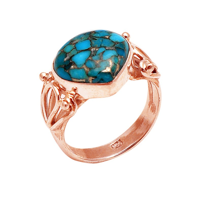 Heart Shape Cabochon Blue Copper Turquoise Gemstone 925 Sterling Silver Ring