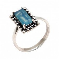 Rectangle Shape chalcedony Gemstone 925 Sterling Silver Handmade Black Oxidized Ring