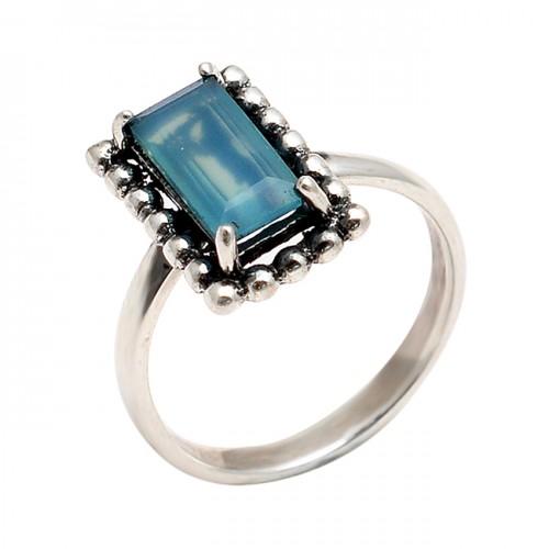 Rectangle Shape chalcedony Gemstone 925 Sterling Silver Handmade Black Oxidized Ring