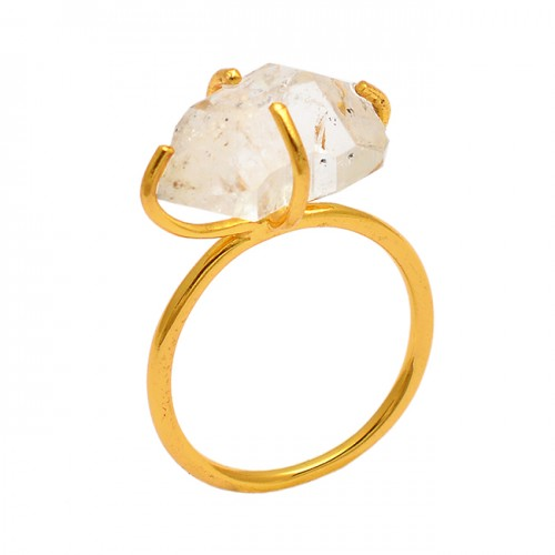 Herkimer Diamond Rough Gemstone 925 Sterling Silver Gold Plated Ring