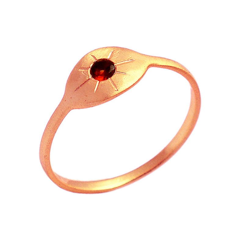 925 Sterling Silver Garnet Round Shape Gemstone Gold Plated Designer Ring