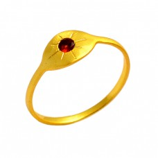925 Sterling Silver Garnet Round Shape Gemstone Gold Plated Designer Ring