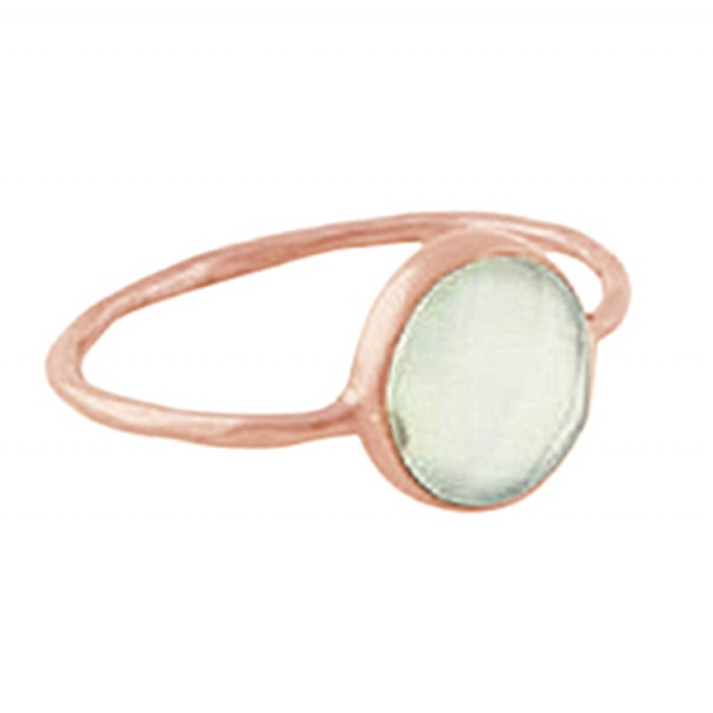 Round Shape Aqua Chalcedony Gemstone 925 Sterling Silver Black Rhodium Ring