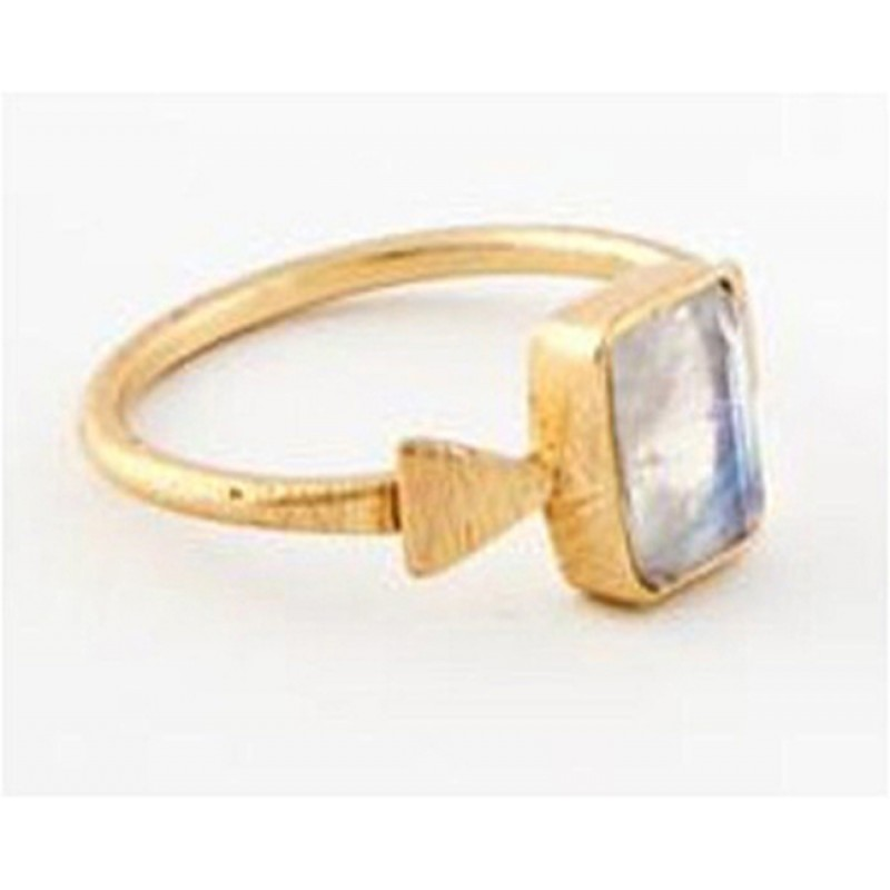 Rectangle Shape Rainbow Moonstone 925 Sterling Silver Gold Plated Ring