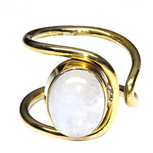 Cabochon Oval Shape Moonstone Band Designer 925 Silver Gold Plated Ring