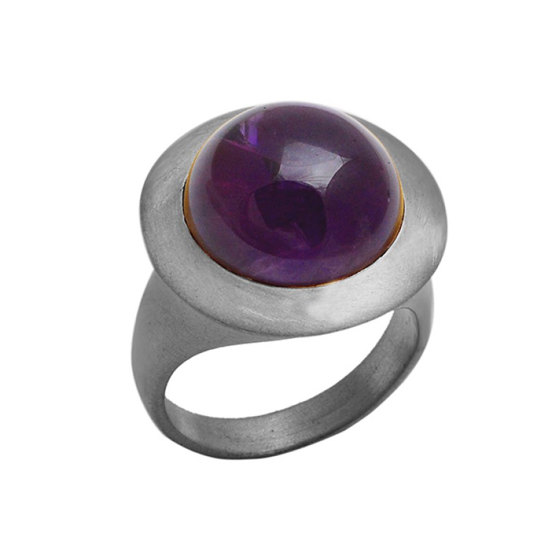 Highdoom Round Cabochon Amethyst Gemstone 925 Sterling Silver Gold Plated Ring Jewelry