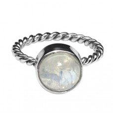 925 Sterling Silver Cabochon Round Moonstone Band Style Gold Plated Ring