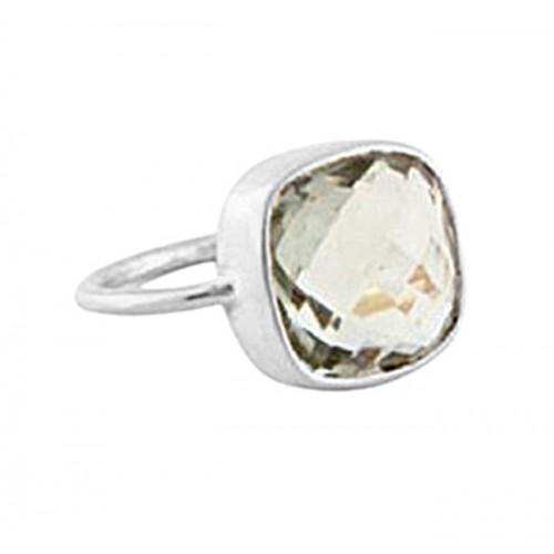 Cushion Shape Green Amethyst Gemstone 925 Sterling Silver Gold Plated Ring