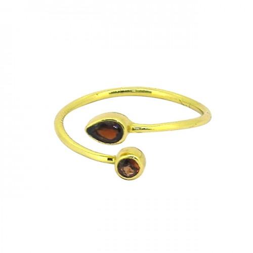 925 Sterling Silver Garnet Gemstone Gold Plated Handmade Band Designer Ring