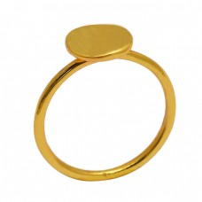 Handcrafted Designer Plain Stylish 925 Sterling Silver Gold Plated Ring Jewelry