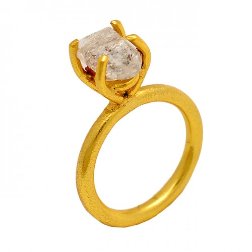 925 Sterling Silver Herkimer Diamond Rough Gemstone Gold Plated Designer Ring
