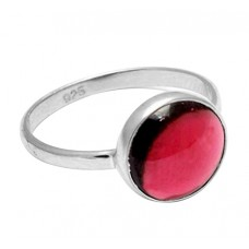 Round Shape Garnet Gemstone 925 Sterling Silver Handcrafted Designer Ring